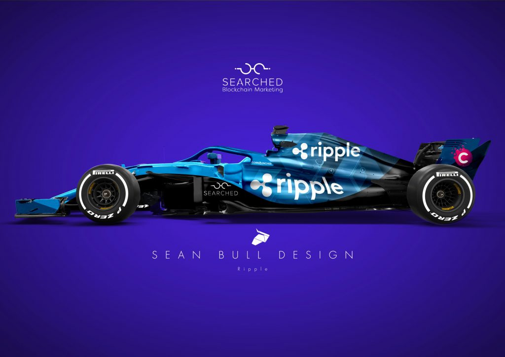 Blockchain advertising disruption - Ripple F1 car by Searched.io