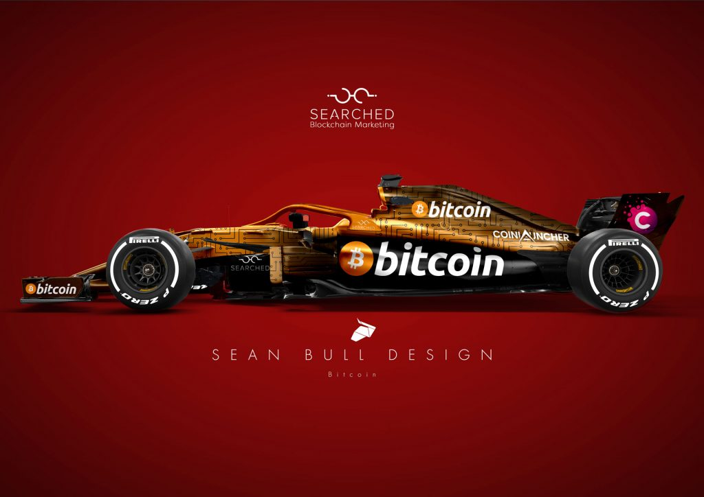 Blockchain advertising disruption - Bitcoin F1 car by Searched.io