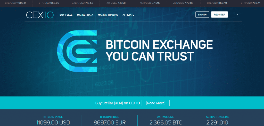 CEX Cryptocurrency Exchange - For Fiat Purchases and Withdrawals Via Bank or Credit Card
