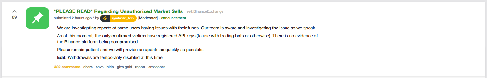 Binance update 2 on Reddit