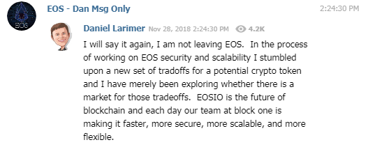 The EOSIO founder has a history of job hopping.