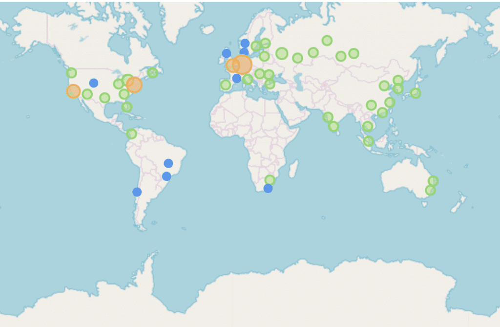 NKN Nodes by geographic location