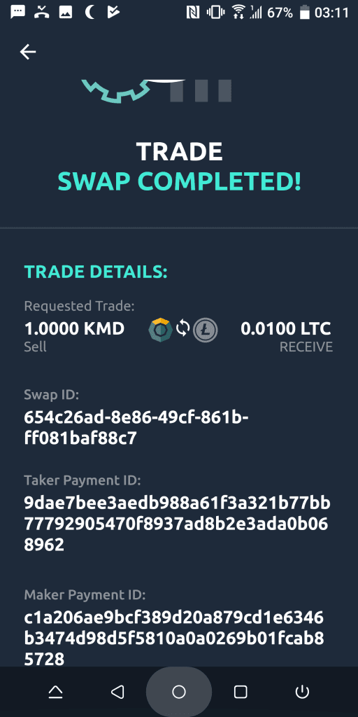 Trustless swap completed!