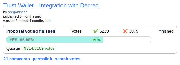 Trust Wallet Decred Integration Vote