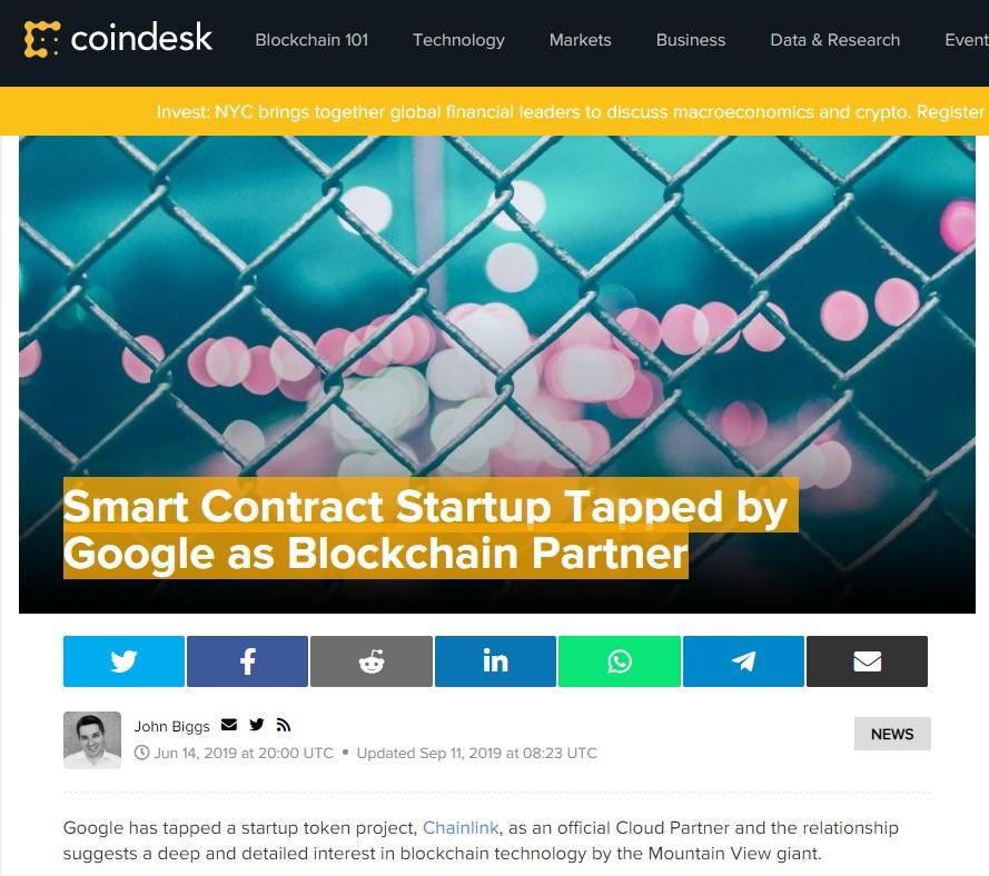 CoinDesk Chainlink headline