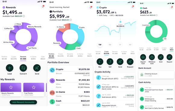 Bakkt mobile's virtual interface for Bitcoin wallet management