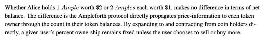 Snippet of the Ampleforth whitepaper about stability