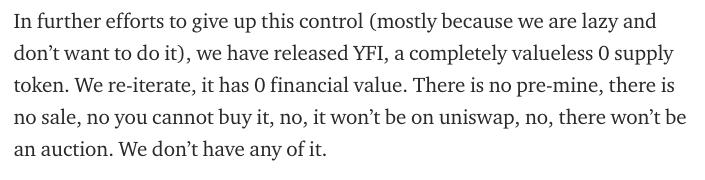 yEarn Finance says YFI has no value beyond governance