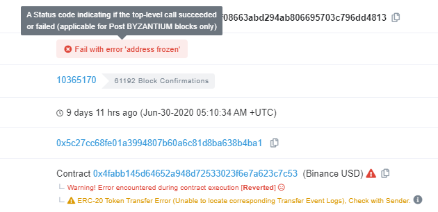Blacklisted addresses show this error when recoding transaction attempts