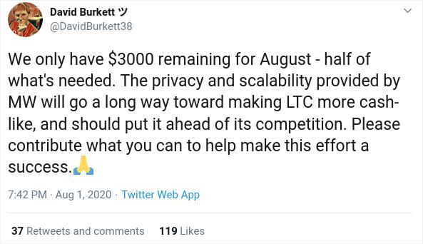 Litecoin Mimblewimble developer David Burkett comment on Twitter