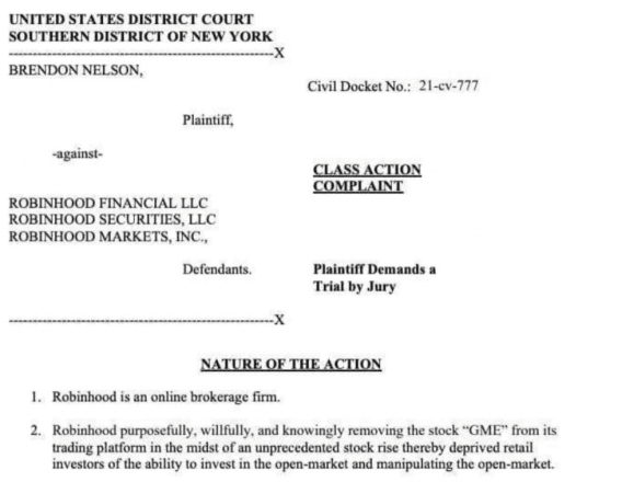 Lawsuit filed against Robinhood for market manipulation