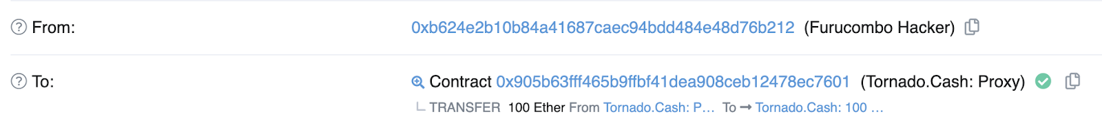 Ethereum transactions on Tornado Cash
