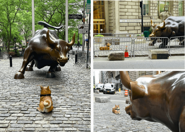 Doge Statue Stares Down Wall Street's Charging Bull | Crypto Briefing