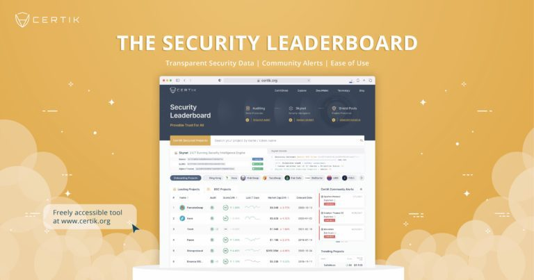 Raising Security Standards: CertiK Unveils the Security Leaderboard, a Powerful Tool for Retail Investors Navigating the Decentralized Web