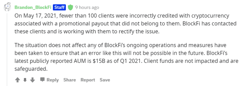 BlockFi Mistakenly Sends Users Large Bitcoin Payments   Crypto Briefing