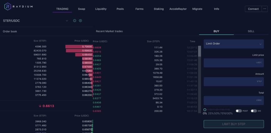 Raydium is the only DEX where you can choose between swapping and trading.