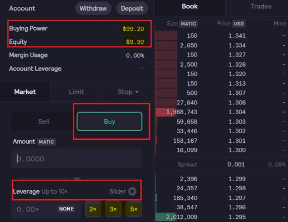dYdX trading